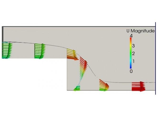 پروژه مدل سازی جریان سطح آزاد در پله معکوس با استفاده از نرم افزار OpenFOAM