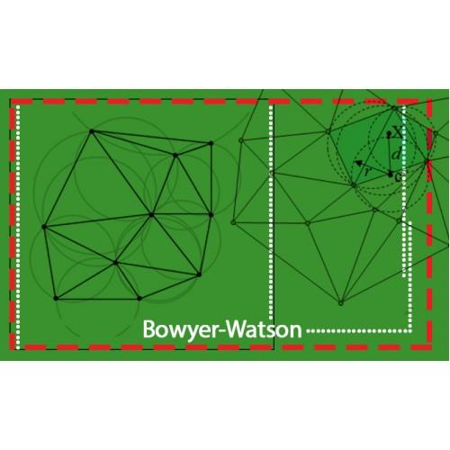 تولید شبکه دو بعدی بی سازمان مثلثی به روش Bowyer-Watson ویرایش دوم